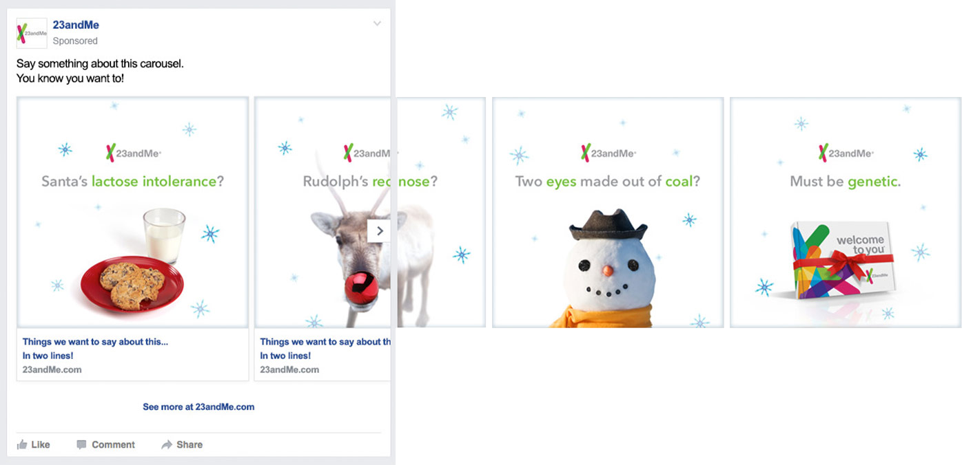 23andMe Holiday Facebook Carousel