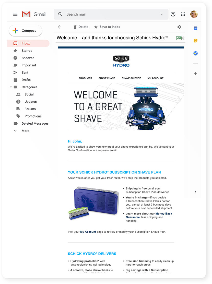 Schick Hydro Welcome Email Template
