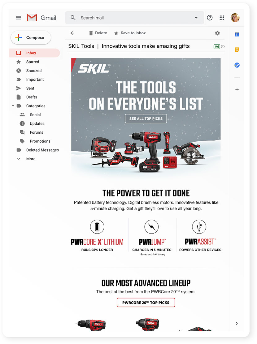 SKIL Pre Holiday Gift Guide Email Template