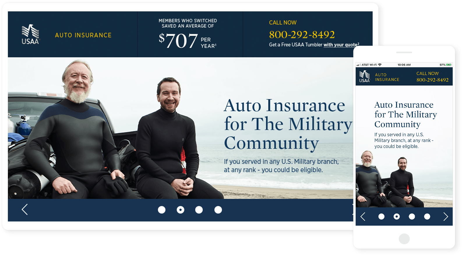 USAA Auto Insurance Landing Page
